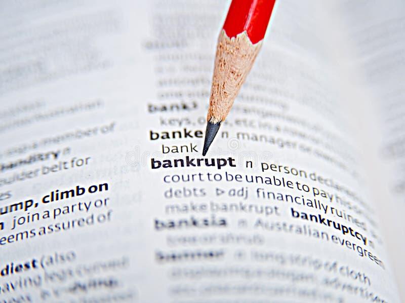 Doe failliet gaan; gevolgen van recessie. royalty-vrije stock foto's