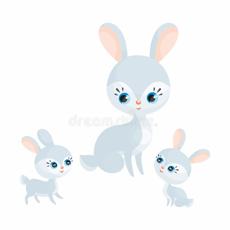 Doe hare with cubs. Cute animal with cubs. Vector illustration in cartoon style isolated on a white background royalty free illustration