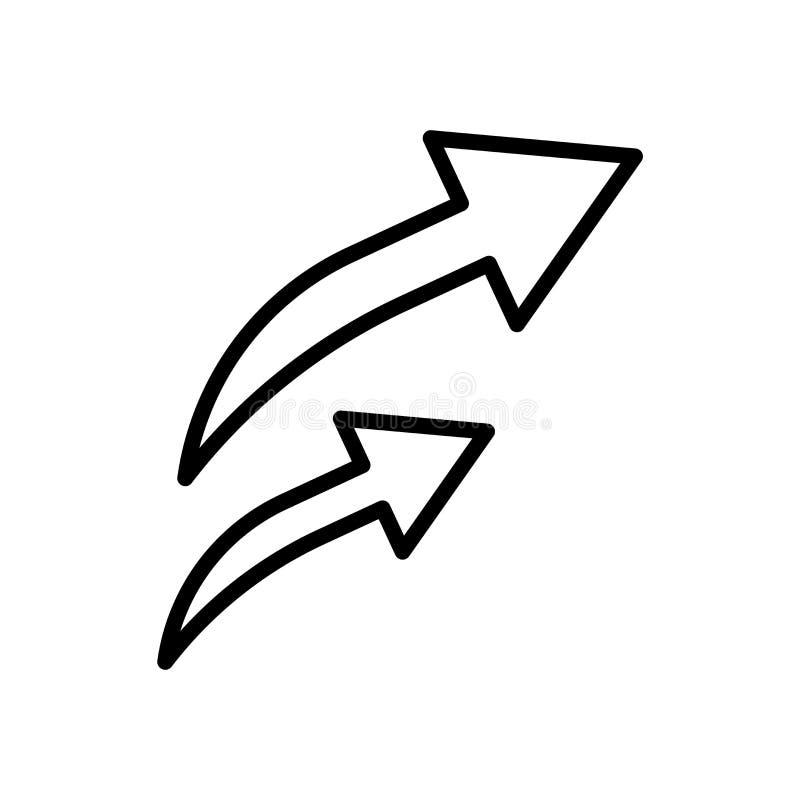 Doe het vectordieteken van het Pijlpictogram over en het symbool op witte achtergrond wordt geïsoleerd, doet het concept van het  stock illustratie