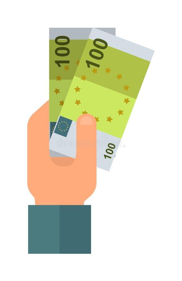 Doe a ilustração da mão do dinheiro ilustração royalty free
