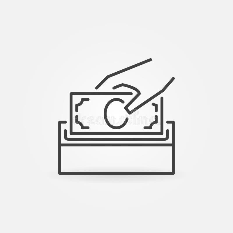 Doe a linha ícone do vetor do dinheiro Símbolo da caixa da doação ilustração do vetor