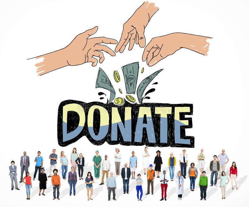 Doe o conceito generoso das mãos da caridade do dinheiro ilustração do vetor
