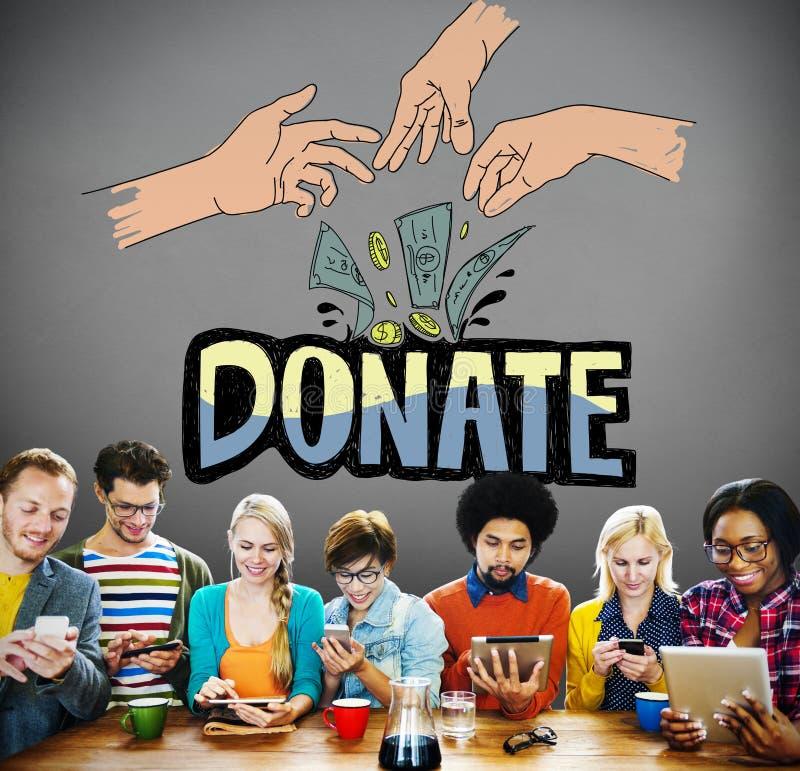 Doe o conceito generoso das mãos da caridade do dinheiro fotografia de stock