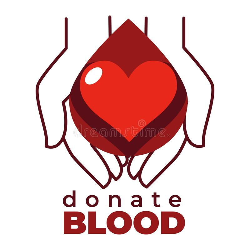 Doe o cora??o do ?cone e a caridade isolados sangue das m?os ilustração royalty free