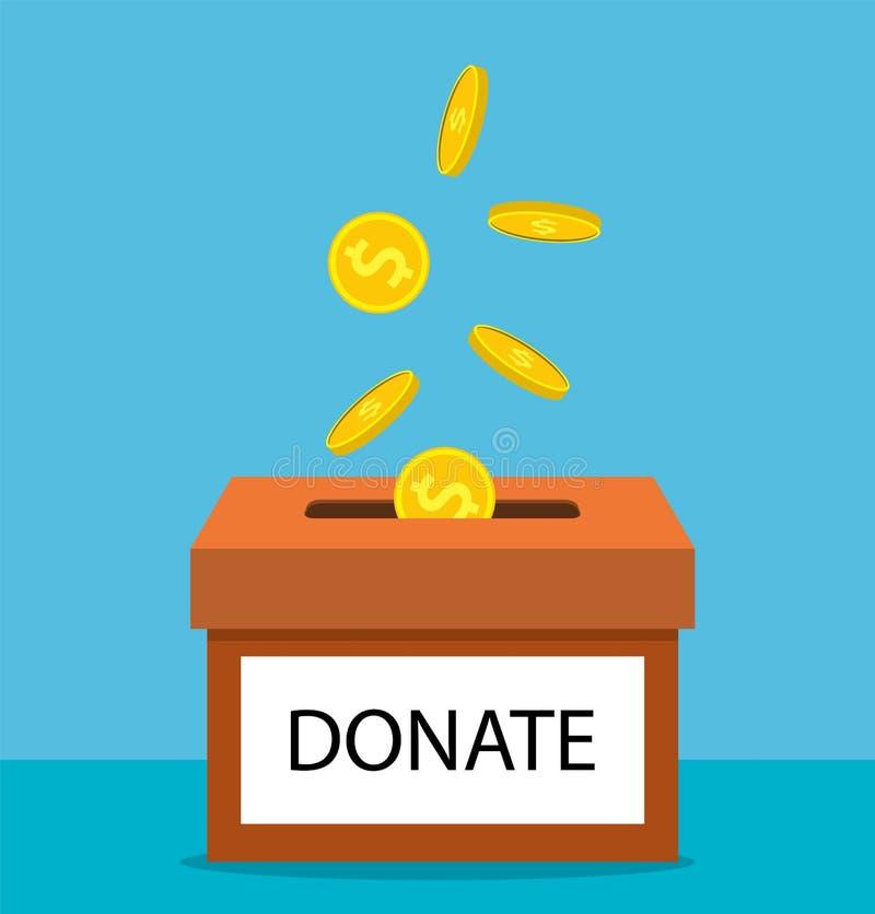 Doe o dinheiro com caixa ilustração royalty free