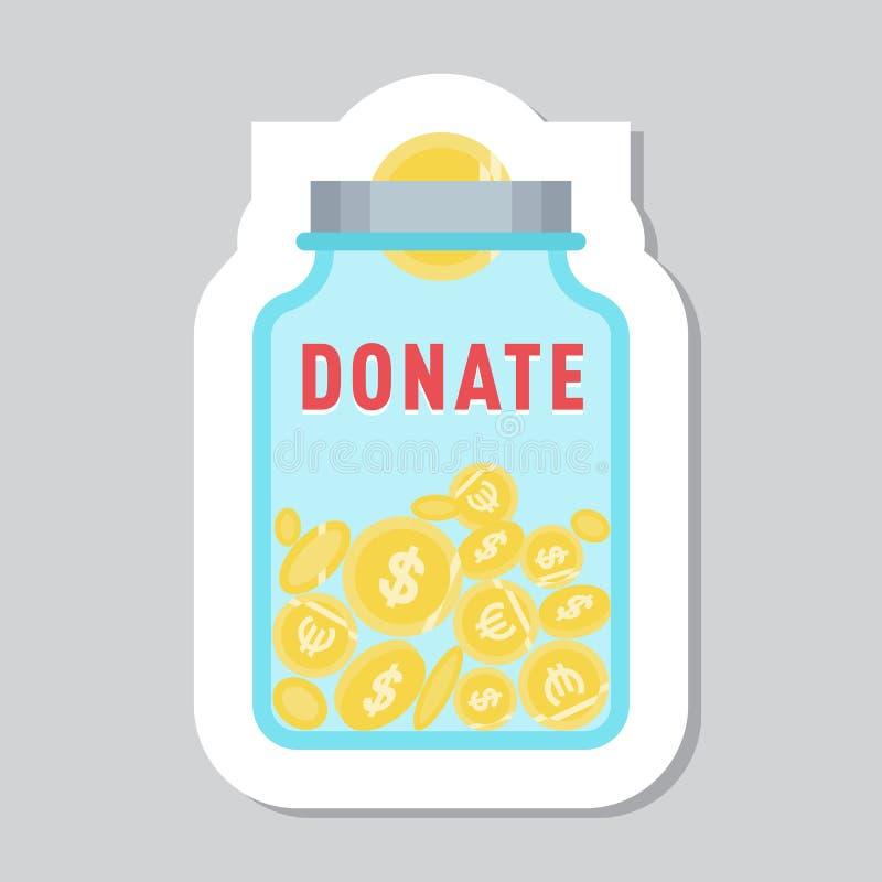 Doe o símbolo do botão Doação do ícone da ajuda ilustração royalty free