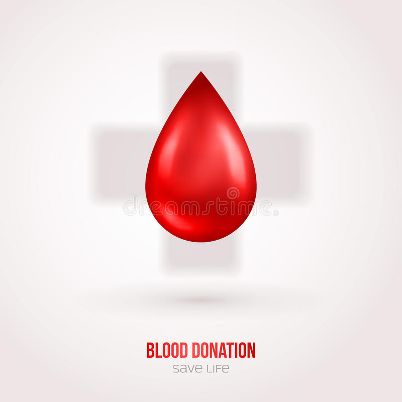 Doe o sinal do sangue da gota com sombra ilustração stock