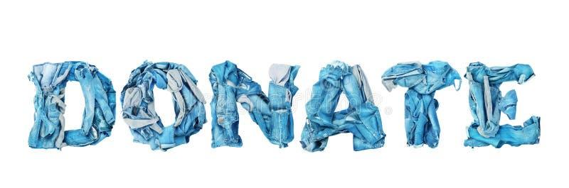 Doe o sinal feito da roupa da sarja de Nimes imagem de stock royalty free