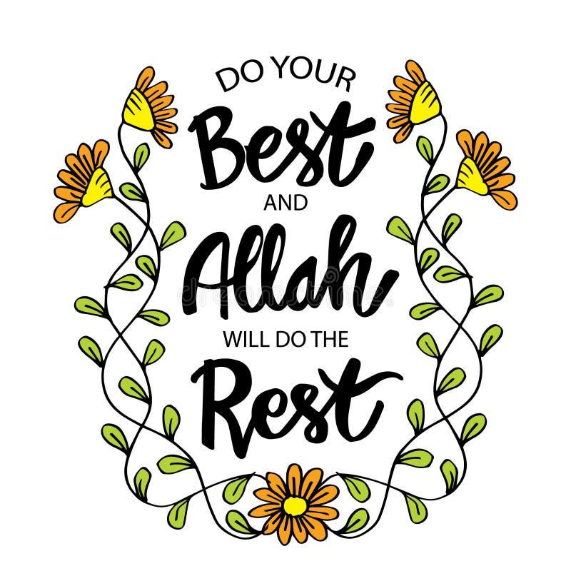 Doe uw best en Allah zal doen deze rust vector illustratie