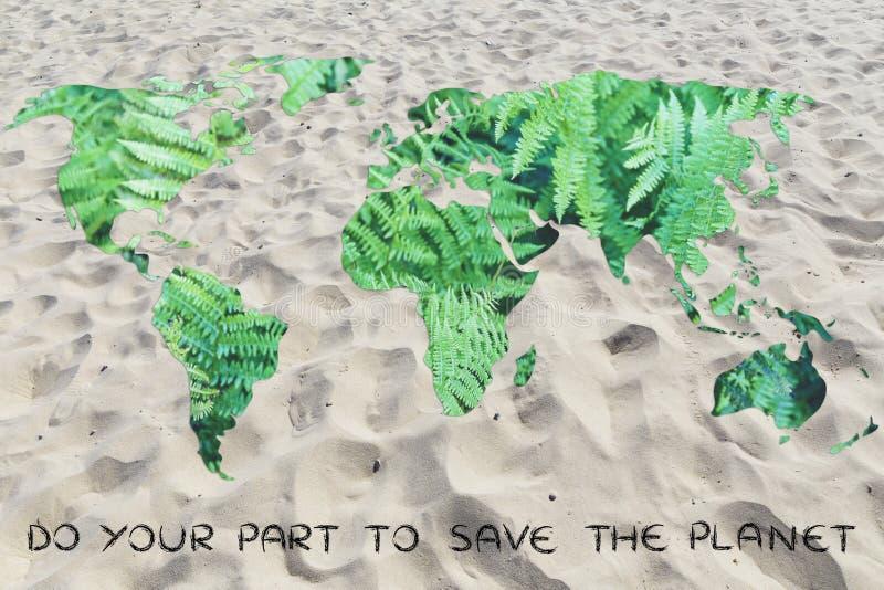 Doe uw deel tegen ontvolking: wereld met zand in plaats van stock fotografie