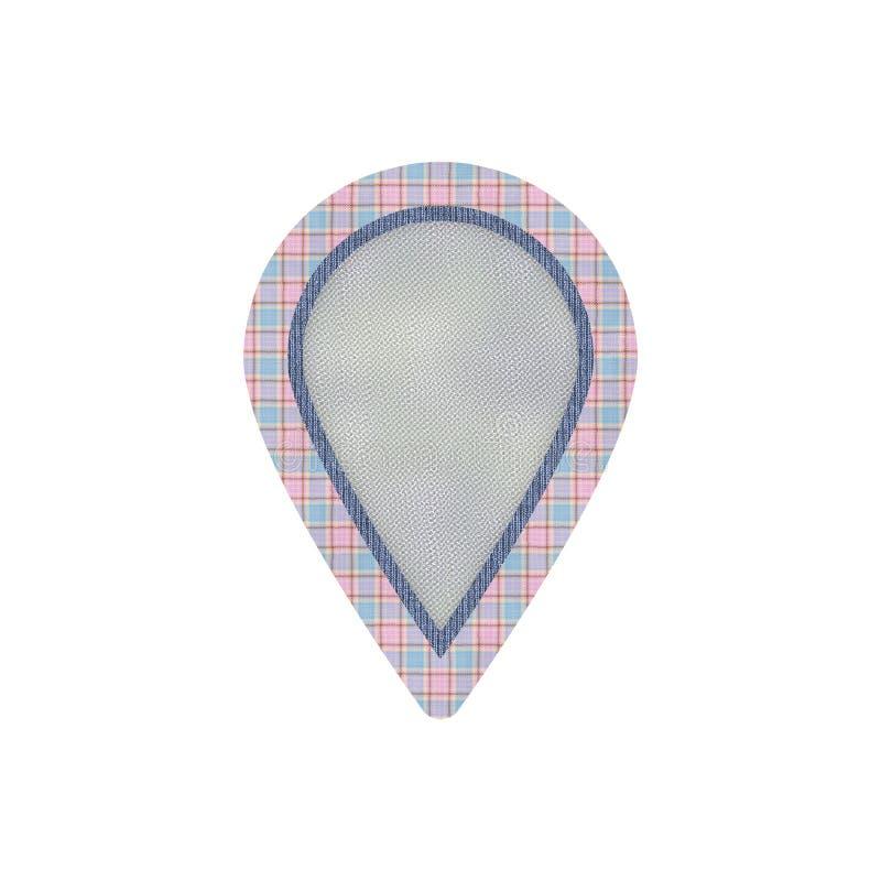 Doek geweven kenteken in vorm van kaartteller vector illustratie