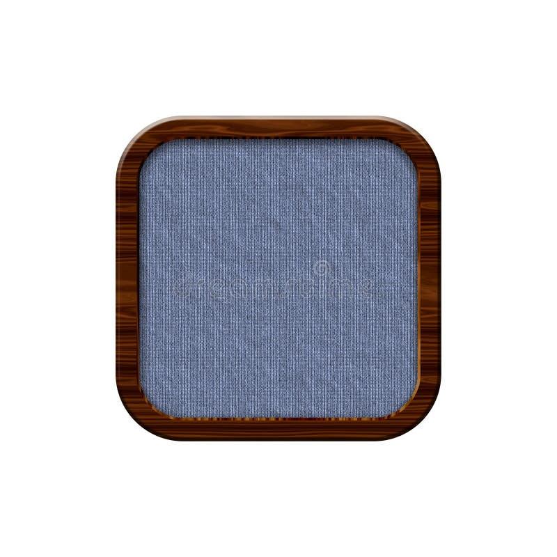 Doekkenteken met houten grens in vorm van rond gemaakt vierkant royalty-vrije illustratie
