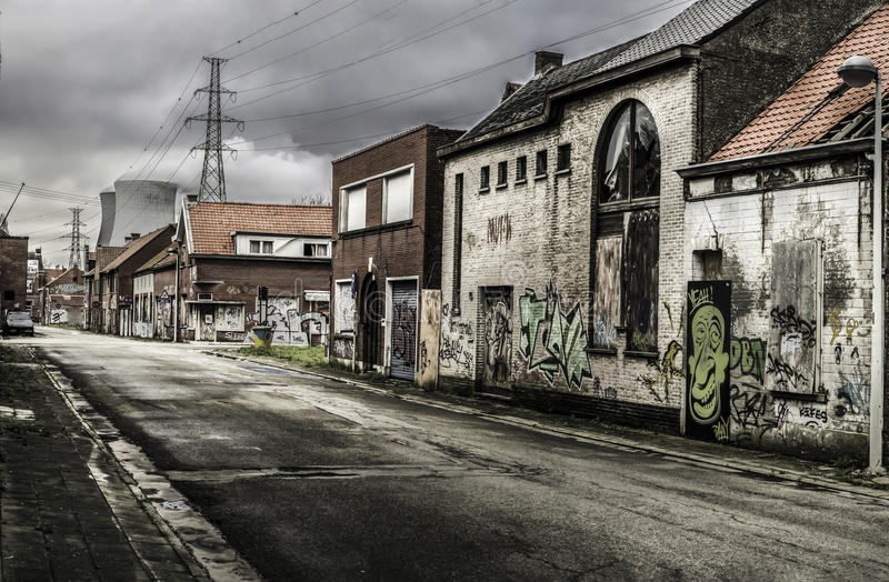 Doel, Belgium march ,16 2016 The abandoned Doel city in Belgium March, 16 2016. The abandoned Doel city in Belgium March, 16 2016 stock photo