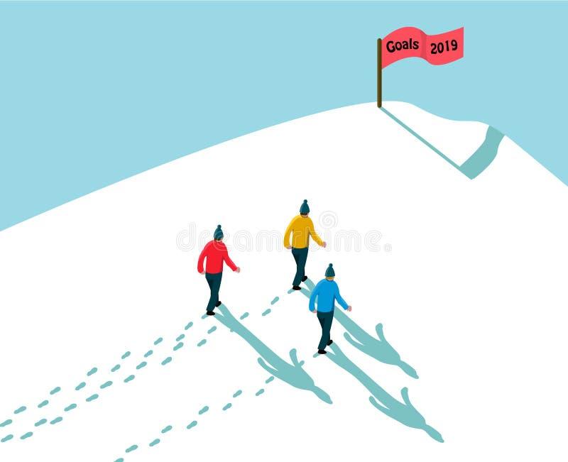 Doel 2019 concept het bereiken bereikt het doel, drie mensen in sneeuw tot heuvel lopen, voetstappen en schaduwen die met de rode royalty-vrije illustratie