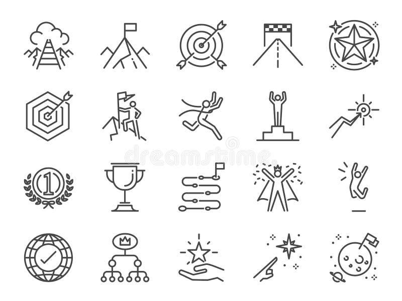Doel en voltooiingspictogramreeks Omvatte de pictogrammen zoals bereiken, succes, doel, de wegenkaart, eindigt, viert, gelukkig e royalty-vrije illustratie