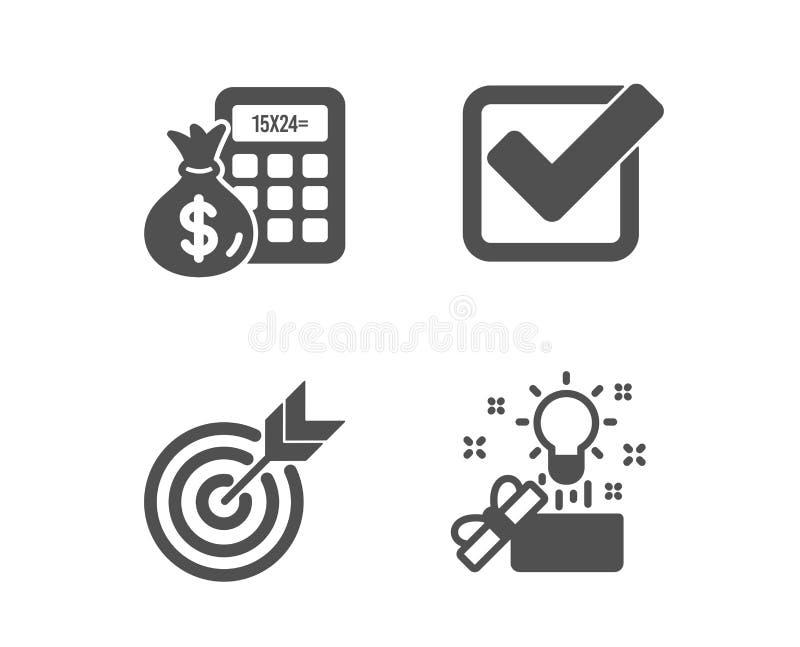 Doel, Financi?ncalculator en Checkbox pictogrammen Creatief ideeteken Richtend, bereken geld, Goedgekeurde tik Vector stock illustratie
