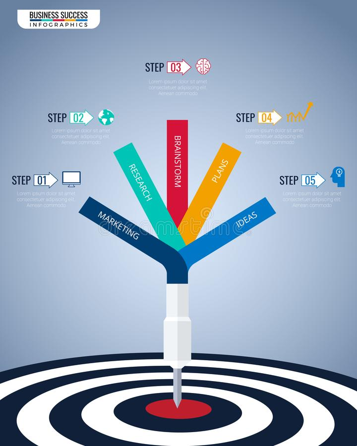 Doel het plaatsen Slim doel Stap aan succes bedrijfsconcepten infographic malplaatje Kan voor werkschemalay-out, banner, diagram  stock illustratie