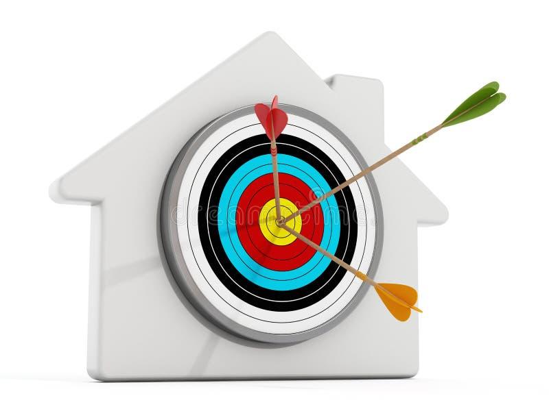 Doel met pijlen bij het midden van van het die zich op wit huisvorm bevinden vector illustratie