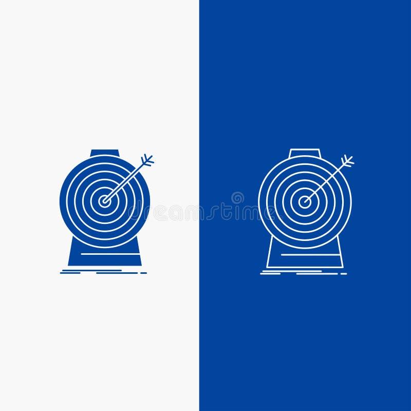 Doel, nadruk, doel, doel, richtend Lijn en Glyph-Webknoop in Blauwe kleuren Verticale Banner voor UI en UX, website of mobiel stock illustratie