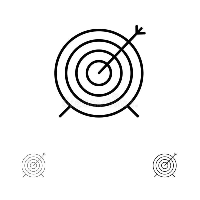 Doel, Pijltje, Doel, het pictogramreeks van de Nadruk Gewaagde en dunne zwarte lijn royalty-vrije illustratie