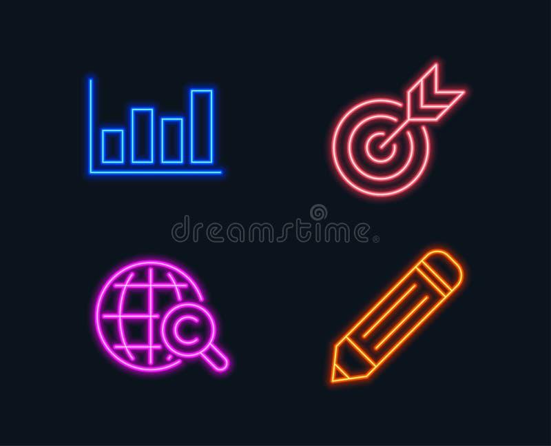 Doel, Rapportdiagram en Internationale Copyright-pictogrammen Potloodteken stock illustratie