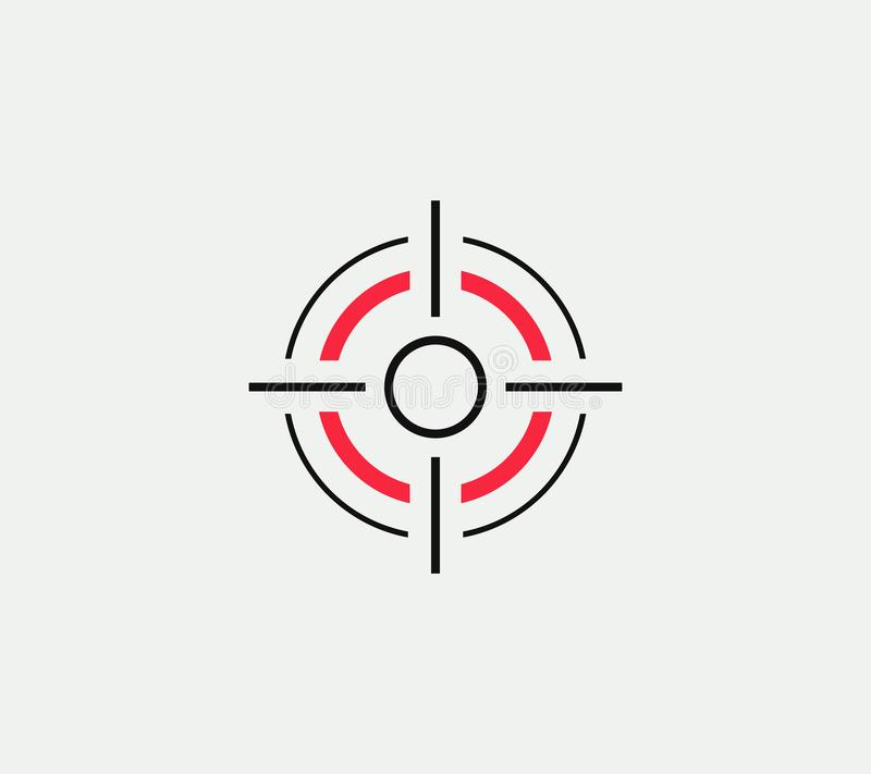 Doel vector lineair gestileerd pictogram, doel abstract teken, doelsymbool, kanon bedrijfsembleemmalplaatje, vectorillustratie  vector illustratie