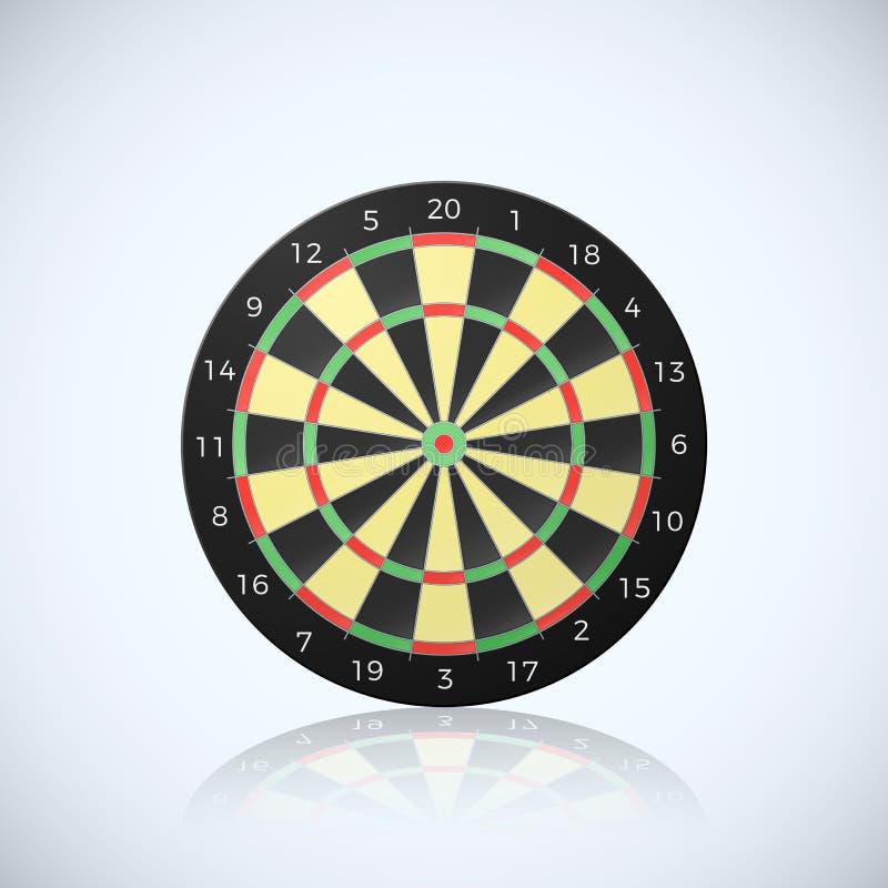 Doel voor pijltjespijl Vectorillustratie van dartboard met bezinning over witte achtergrond stock illustratie