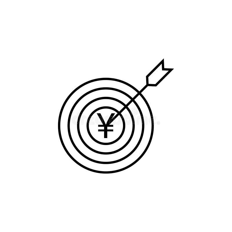 Doel, yuans, pijlpictogram Element van financiënillustratie Tekens en symbolen het pictogram kan voor Web, embleem, mobiele toepa stock illustratie