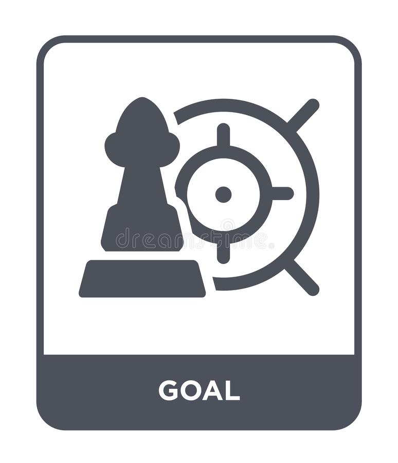 doelpictogram in in ontwerpstijl Doelpictogram op witte achtergrond wordt geïsoleerd die eenvoudige en moderne vlakke symbool van vector illustratie