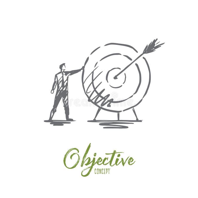Doelstelling, zaken, pijl, doel, succesconcept Hand getrokken geïsoleerde vector vector illustratie