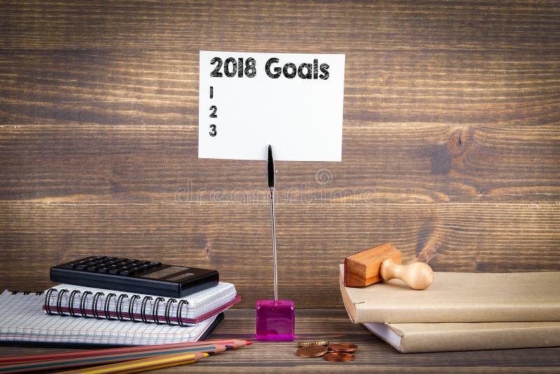 2018 doelstellingen het bureau van het lijstwerk Bedrijfssuccesachtergrond royalty-vrije stock foto
