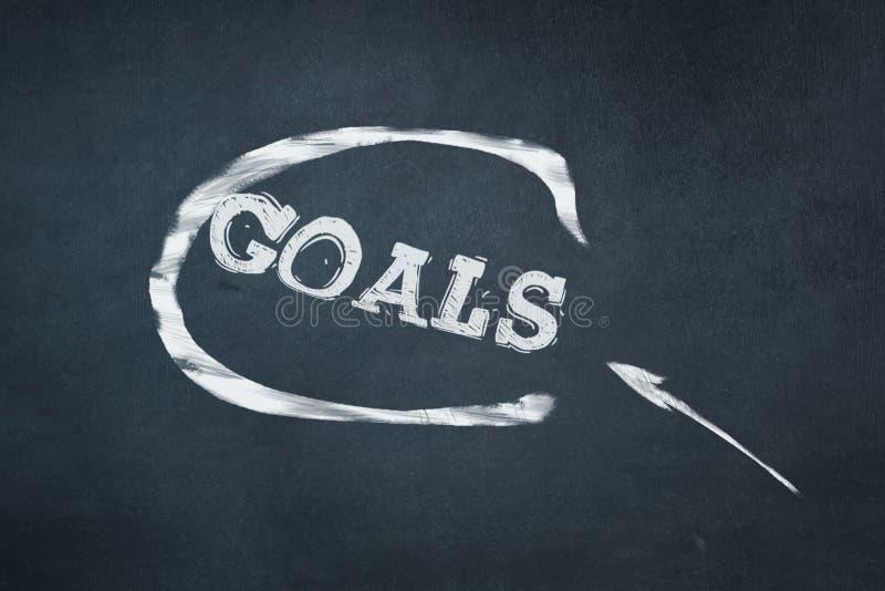 Doelstellingen, inschrijving in krijt op een blauwe raad Bedrijfs concept stock afbeeldingen