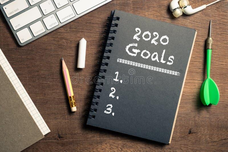 2020 Doelstellingen op het bureau stock foto