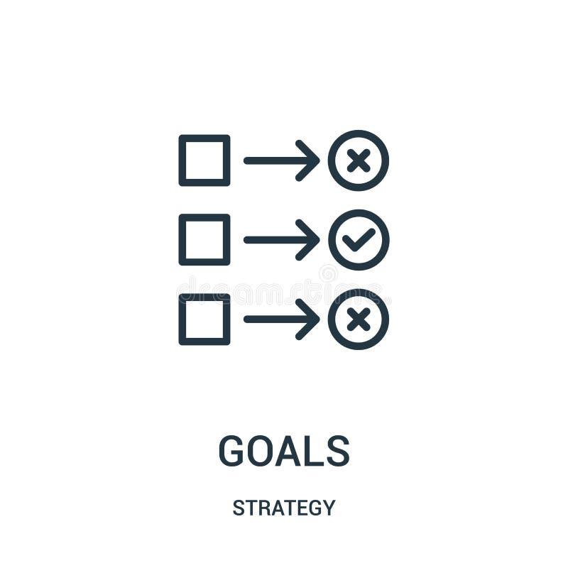 doelstellingen pictogramvector van strategieinzameling De dunne lijndoelstellingen vectorillustratie van het overzichtspictogram  royalty-vrije illustratie