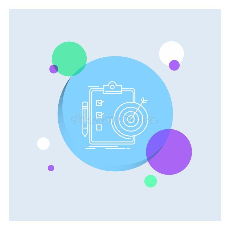 doelstellingen, rapport, analytics, doel, Achtergrond van de het Pictogram kleurrijke Cirkel van de voltooiings de Witte Lijn stock illustratie