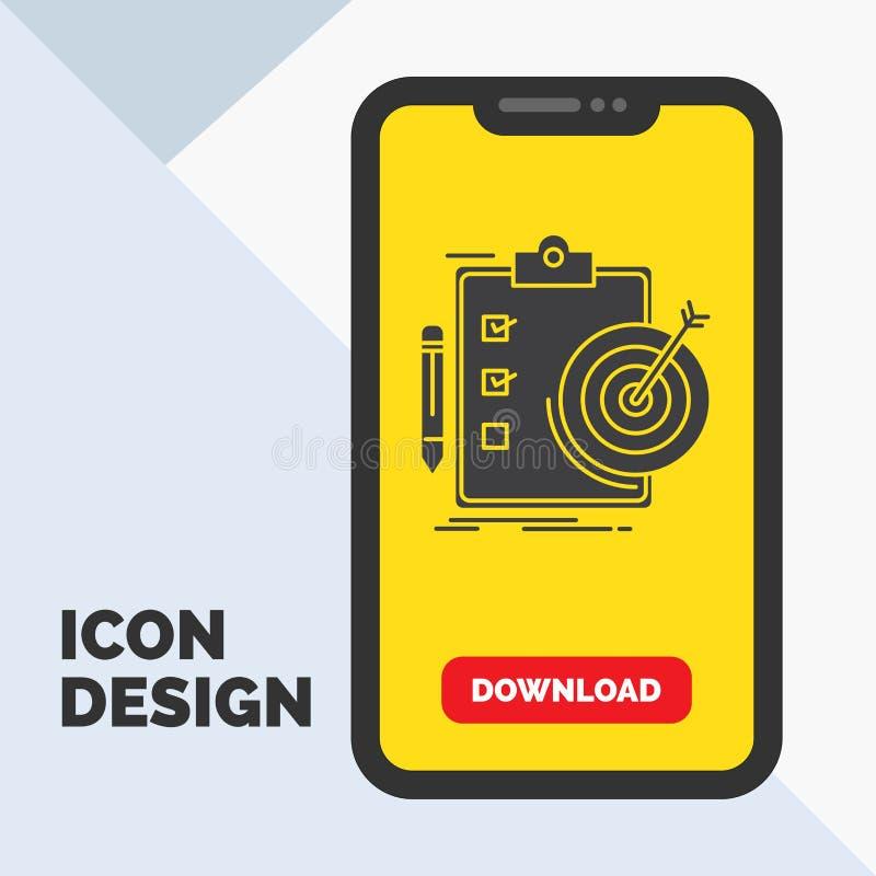 doelstellingen, rapport, analytics, doel, het Pictogram van voltooiingsglyph in Mobiel voor Downloadpagina Gele achtergrond stock illustratie