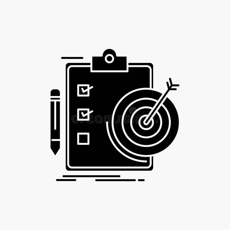 doelstellingen, rapport, analytics, doel, het Pictogram van voltooiingsglyph Vector ge?soleerde illustratie vector illustratie