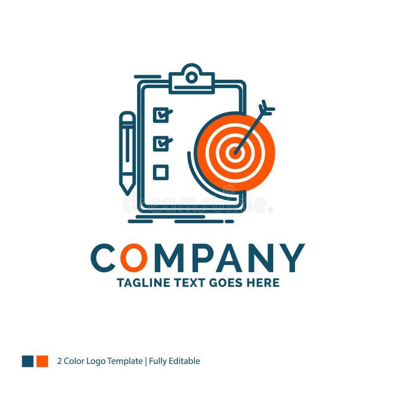 doelstellingen, rapport, analytics, doel, voltooiing Logo Design Blauw stock illustratie