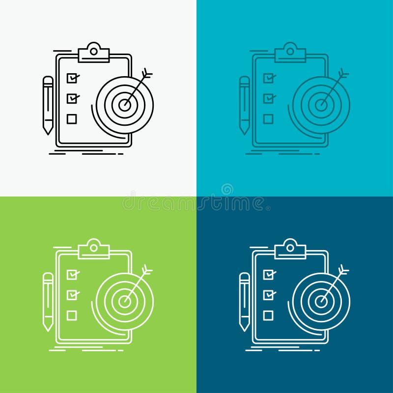 doelstellingen, rapport, analytics, doel, voltooiingspictogram over Diverse Achtergrond r Eps 10 vector illustratie