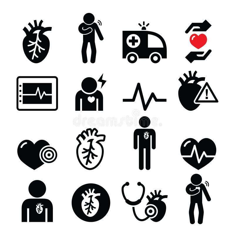 Doença cardíaca, cardíaco de ataque, ícones da doença cardiovascular ajustados ilustração royalty free
