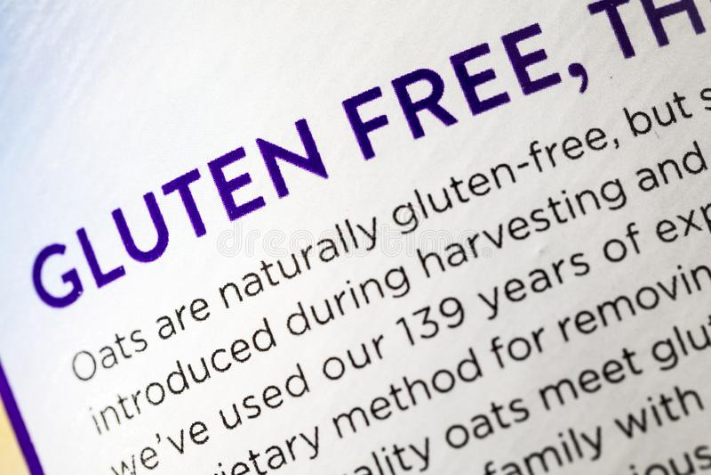 Doença celíaca da dieta sem glúten da etiqueta do alimento de grão da aveia fotografia de stock