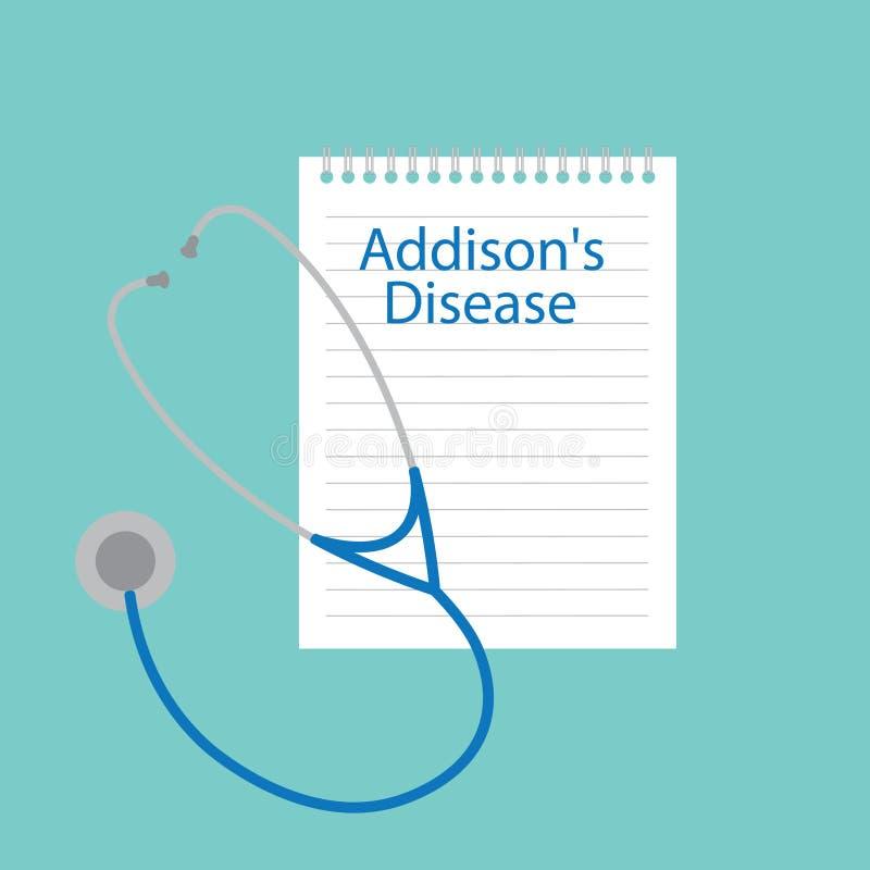 A doença de Addison escrita em um caderno ilustração royalty free