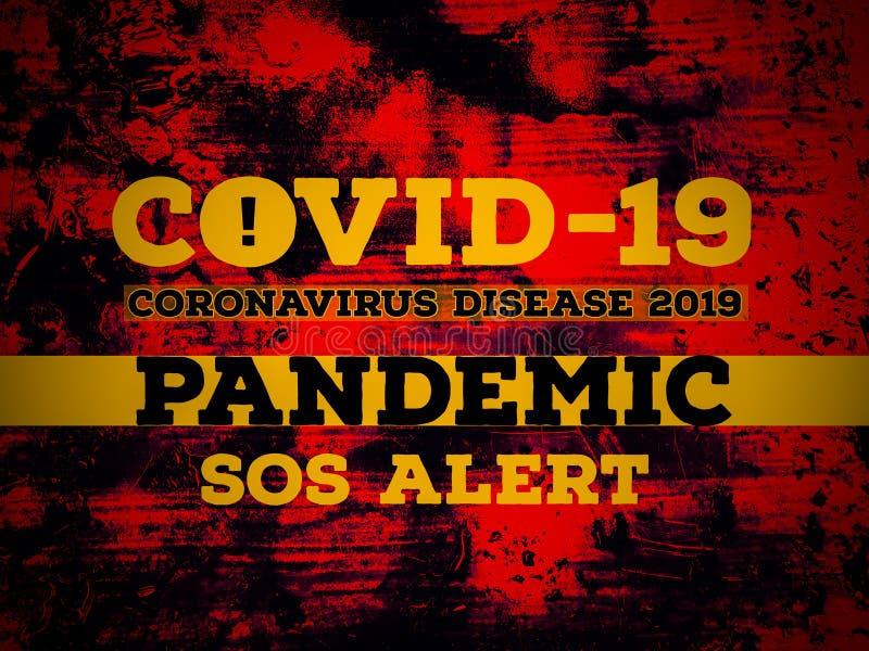 Doença de Coronavírus 2019 PANDEMIC SOS alerta 19 da doença de Coronavírus em fundo vermelho imagem de stock