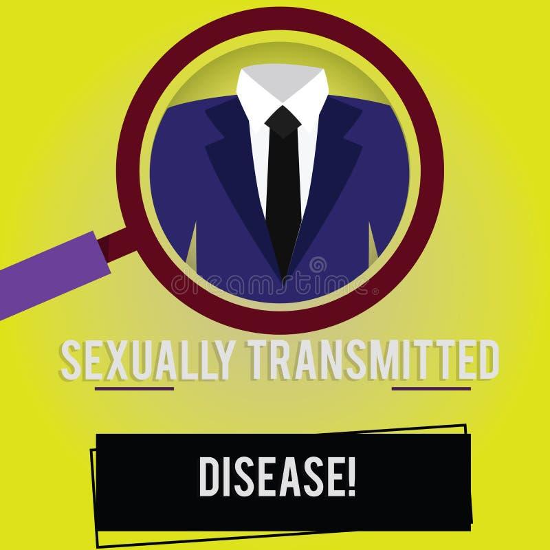 Doença de transmissão sexual do texto da escrita Conceito que significa as doenças espalhadas pela lupa das relações sexuais ilustração do vetor