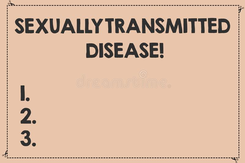 Doença de transmissão sexual do texto da escrita Conceito que significa as doenças espalhadas por corte tracejado quebrado das re ilustração do vetor