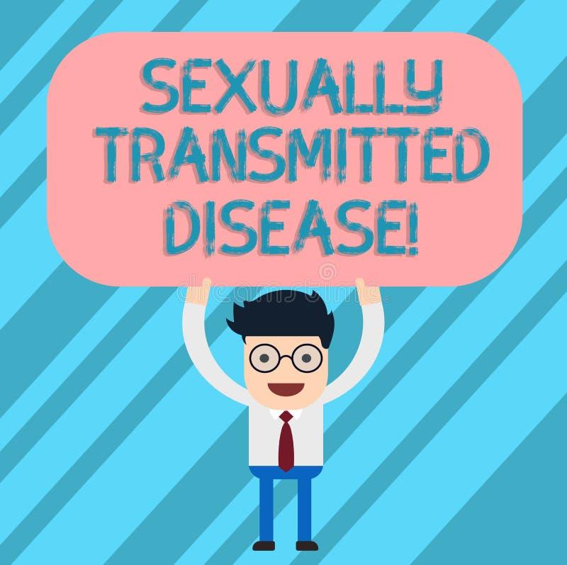 Doença de transmissão sexual do texto da escrita da palavra Conceito do negócio para as doenças espalhadas pela posição do homem  ilustração do vetor