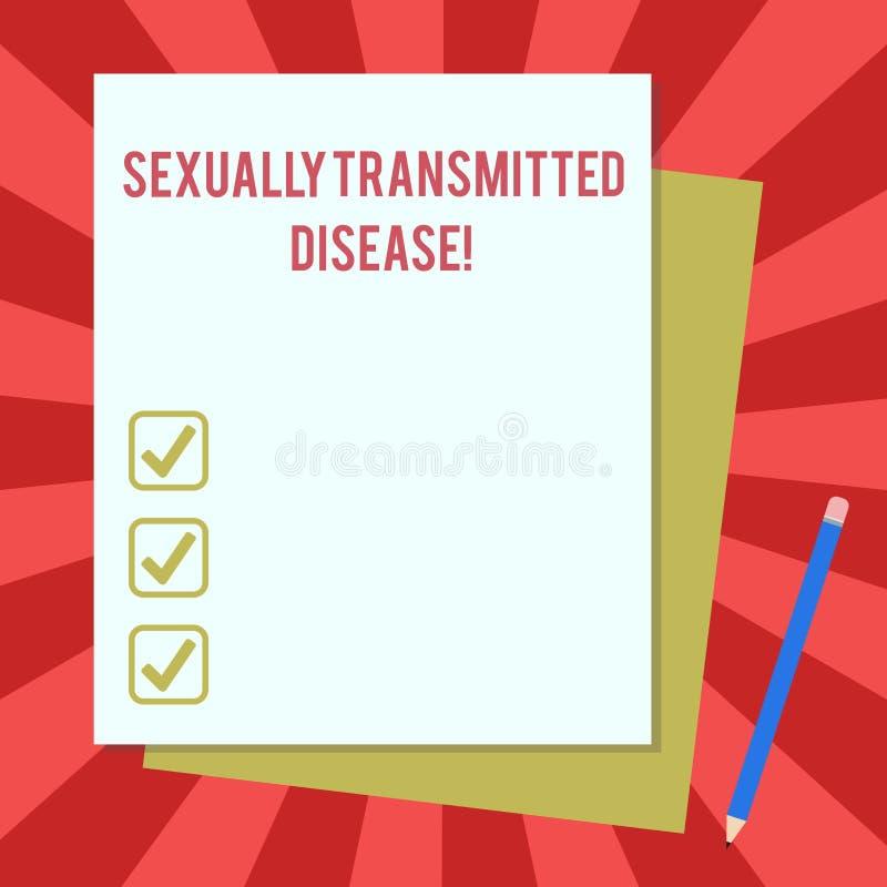 Doença de transmissão sexual do texto da escrita da palavra O conceito do negócio para as doenças espalhadas por relações sexuais ilustração do vetor