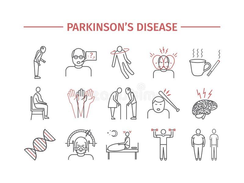 Doença do ` s de Parkinson Sintomas, tratamento Linha ícones ajustados Sinais do vetor para gráficos da Web ilustração stock