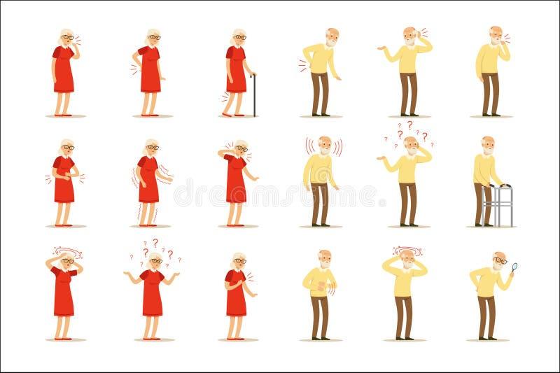 Doenças da mulher, da dor do problema parte traseira dentro, pescoço, braço, coração, joelho e cabeça idosos Grupo superior da sa ilustração royalty free