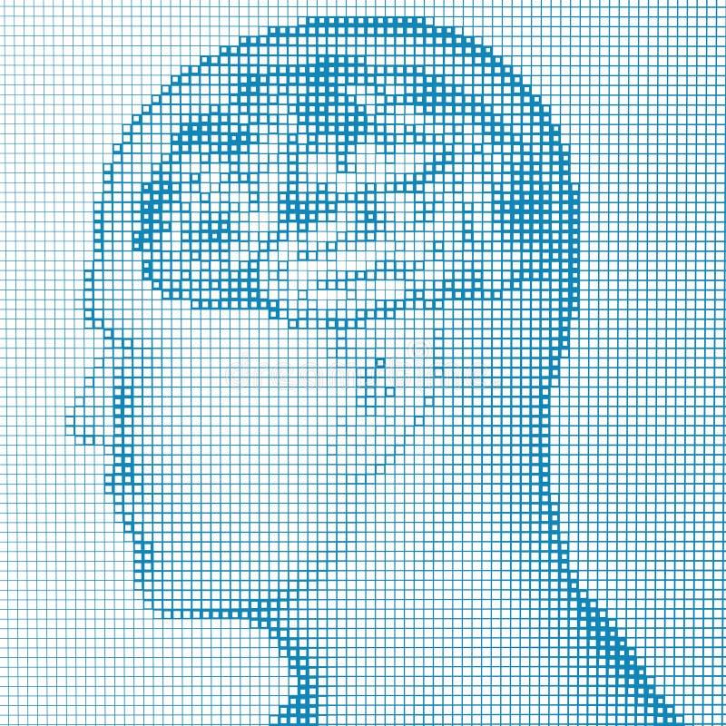 Doenças degenerativos do cérebro, ` s de Parkinson, corpo, cara pixels ilustração stock